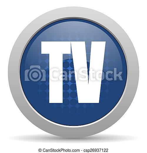 tv blue glossy web icon - csp26937122