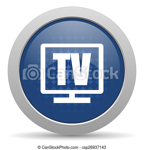 tv blue glossy web icon - csp26937143