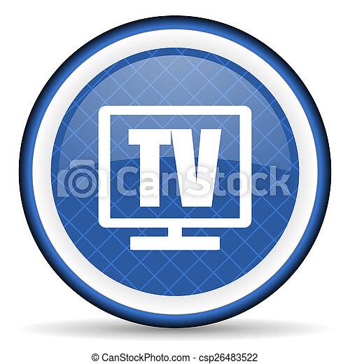 tv blue icon television sign - csp26483522