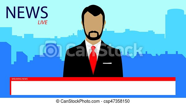 Tv Broadcast News Vector Illustration Anchorman On