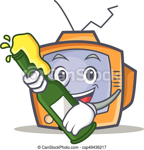 TV character cartoon object with beer - csp49436217