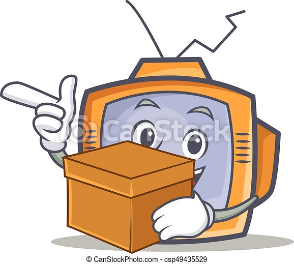 TV character cartoon object with box - csp49435529
