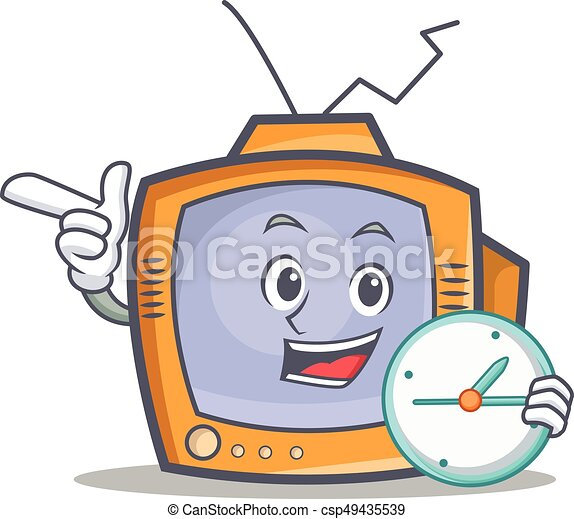 TV character cartoon object with clock - csp49435539