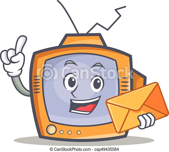 TV character cartoon object with envelope - csp49435584