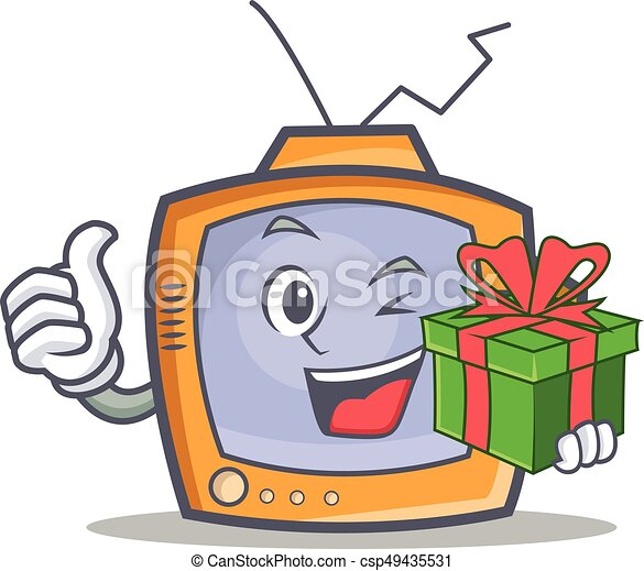 TV character cartoon object with gift - csp49435531