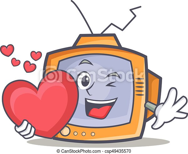 TV character cartoon object with heart - csp49435570