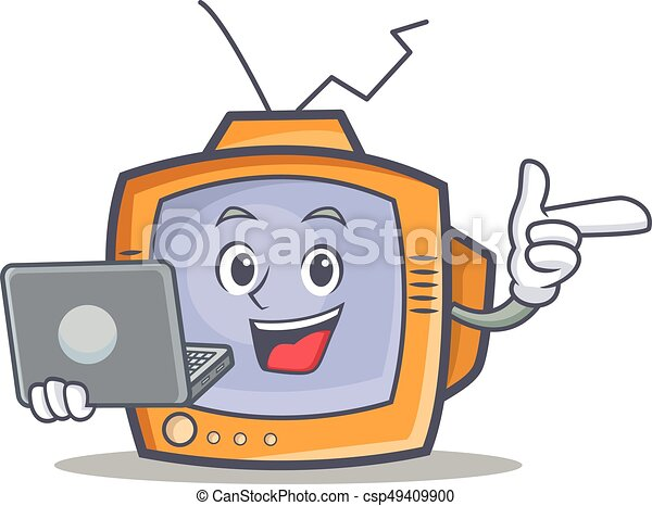 TV character cartoon object with laptop - csp49409900