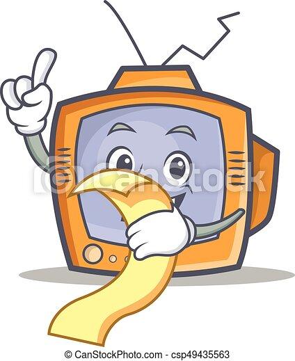 TV character cartoon object with menu - csp49435563