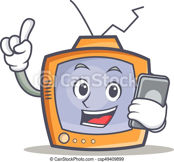 TV character cartoon object with phone - csp49409899