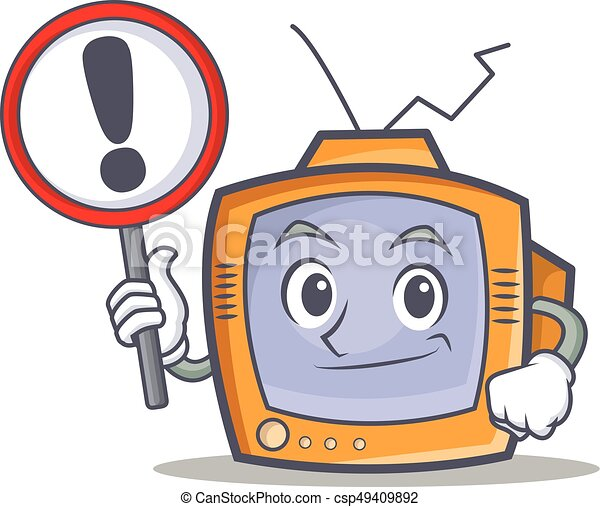 TV character cartoon object with sign - csp49409892
