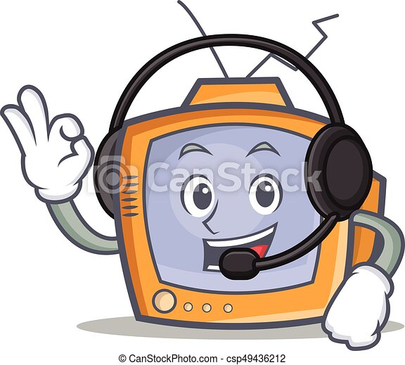 TV character cartoon object with headphone - csp49436212