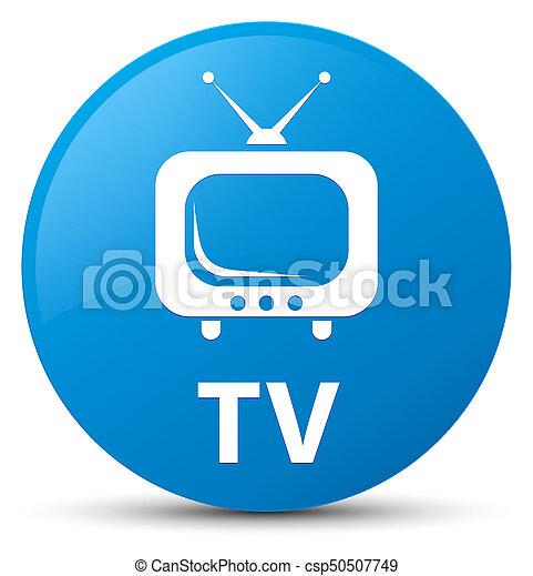 TV cyan blue round button - csp50507749