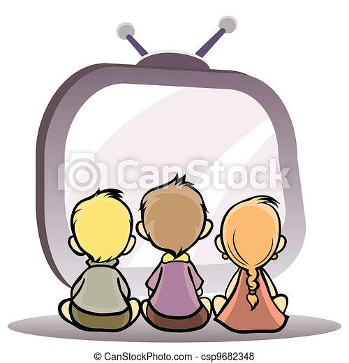 tv, enfants, regarder - csp9682348