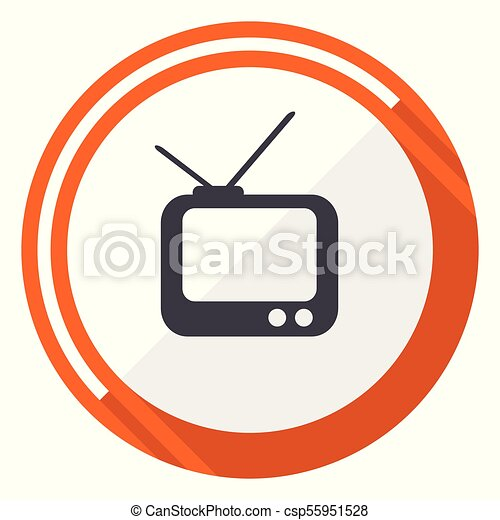 Tv flat design vector web icon. Round orange internet button isolated on white background. - csp55951528