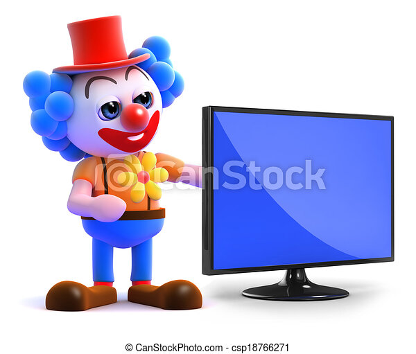 tv, flatscreen, clown, 3d - csp18766271