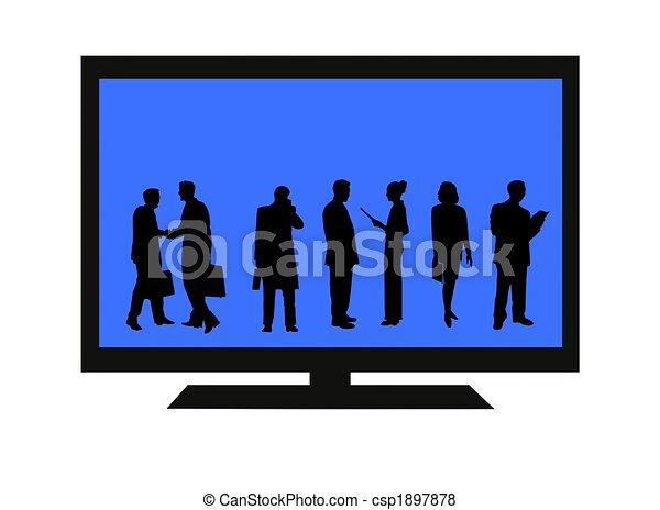 tv, flatscreen, isolé, gens - csp1897878