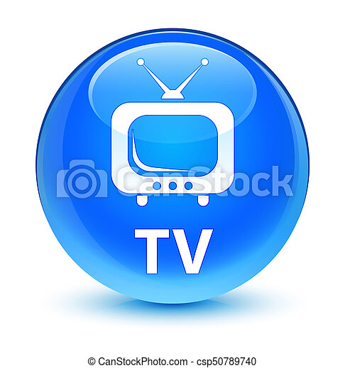 TV glassy cyan blue round button - csp50789740