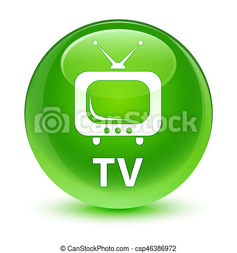 TV glassy green round button - csp46386972