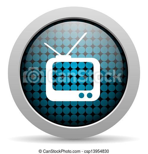 tv glossy icon - csp13954830
