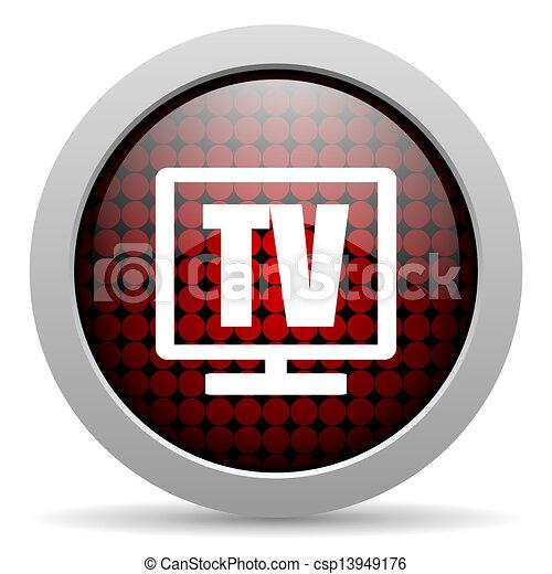 tv glossy icon - csp13949176