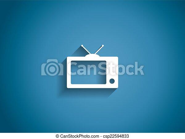 TV Glossy Icon Vector Illustration - csp22594833