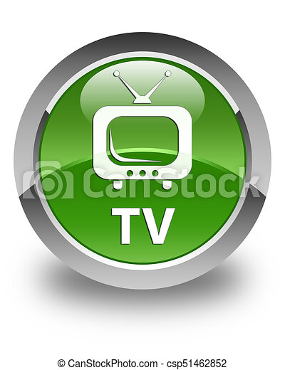 TV glossy soft green round button - csp51462852