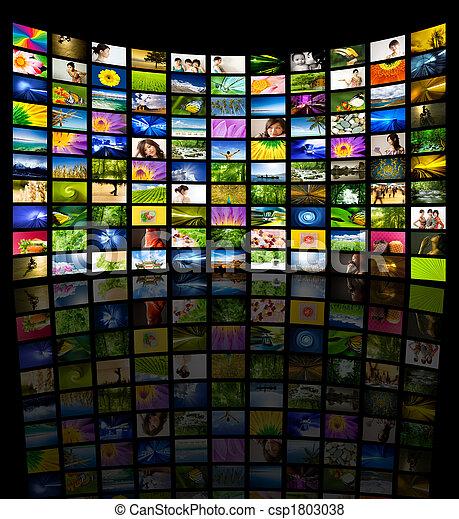 tv, grand, panneau - csp1803038