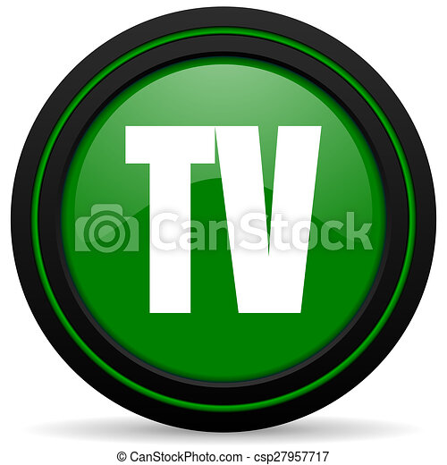 tv green icon television sign - csp27957717