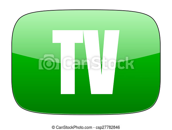tv green icon television sign - csp27782846