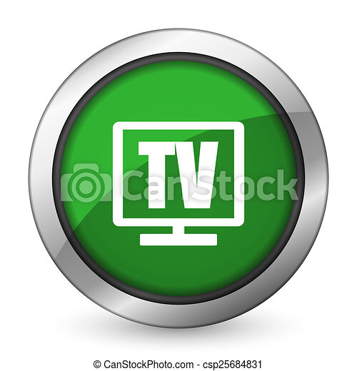 tv green icon television sign - csp25684831
