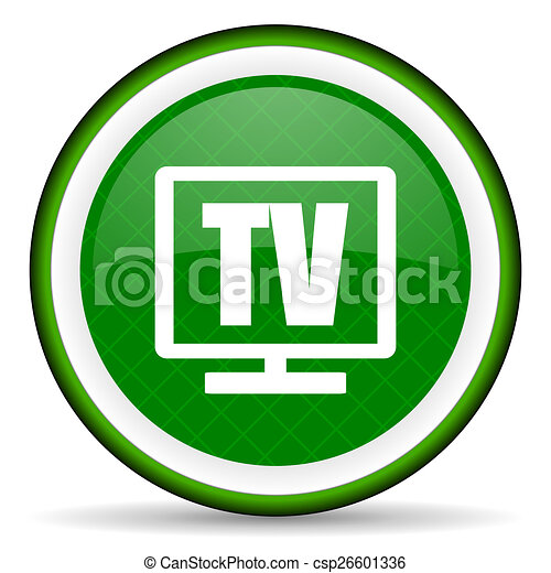 tv green icon television sign - csp26601336