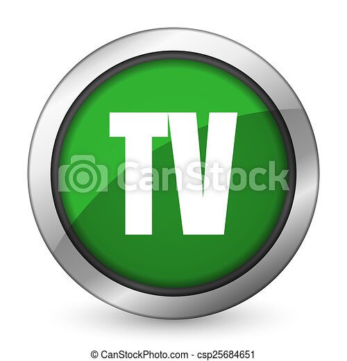 tv green icon television sign - csp25684651