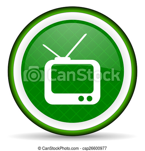 tv green icon television sign - csp26600977