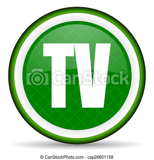 tv green icon television sign - csp26601158
