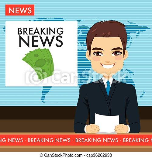 tv, homem, newscaster - csp36262938