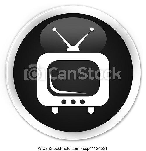 TV icon black glossy round button - csp41124521
