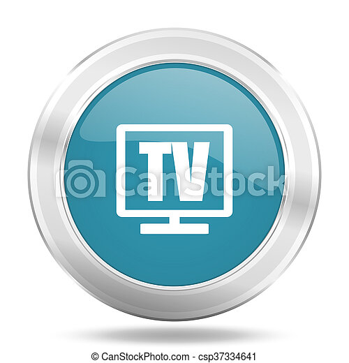 tv icon, blue round glossy metallic button, web and mobile app design illustration - csp37334641