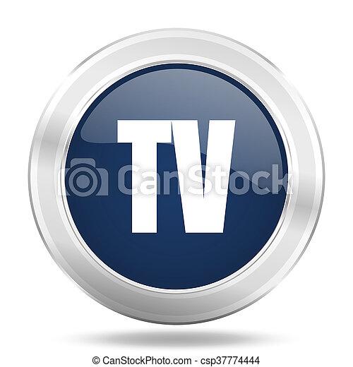 tv icon, dark blue round metallic internet button, web and mobile app illustration - csp37774444