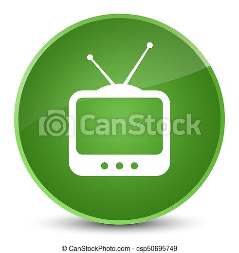 TV icon elegant soft green round button - csp50695749