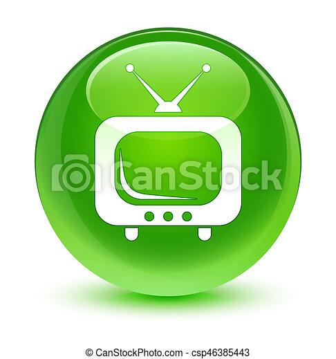 TV icon glassy green round button - csp46385443