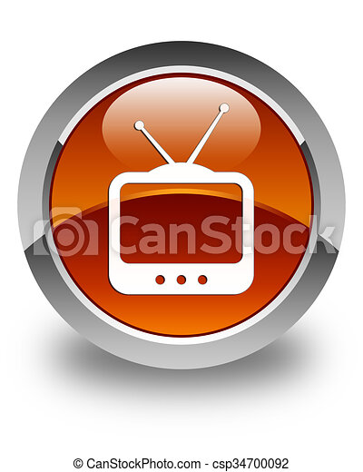TV icon glossy brown round button - csp34700092