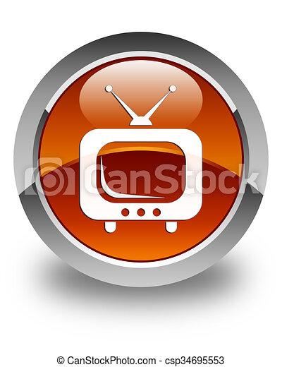 TV icon glossy brown round button - csp34695553