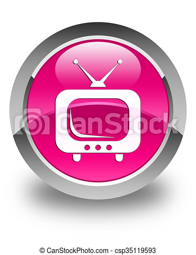 TV icon glossy pink round button - csp35119593