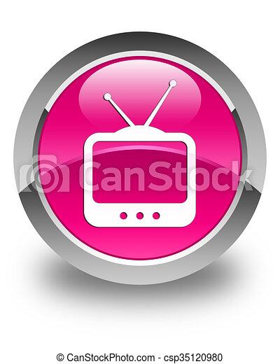 TV icon glossy pink round button - csp35120980