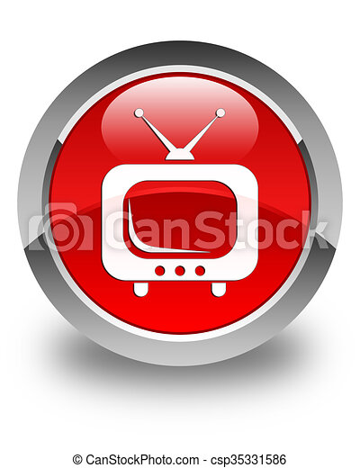 TV icon glossy red round button - csp35331586