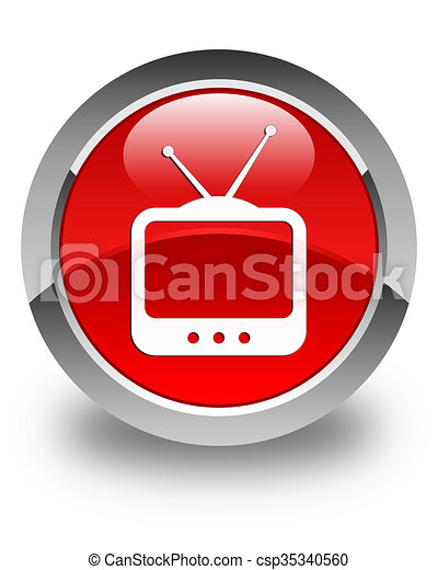 TV icon glossy red round button - csp35340560