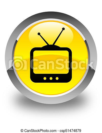 TV icon glossy yellow round button - csp51474879