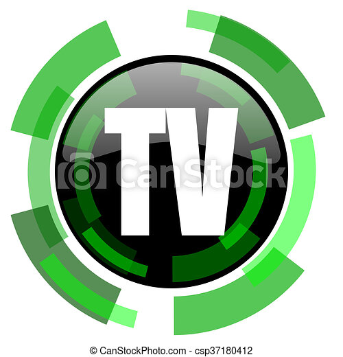 tv icon, green modern design isolated button, web and mobile app design illustration - csp37180412