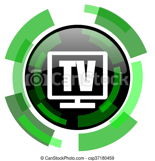 tv icon, green modern design isolated button, web and mobile app design illustration - csp37180459