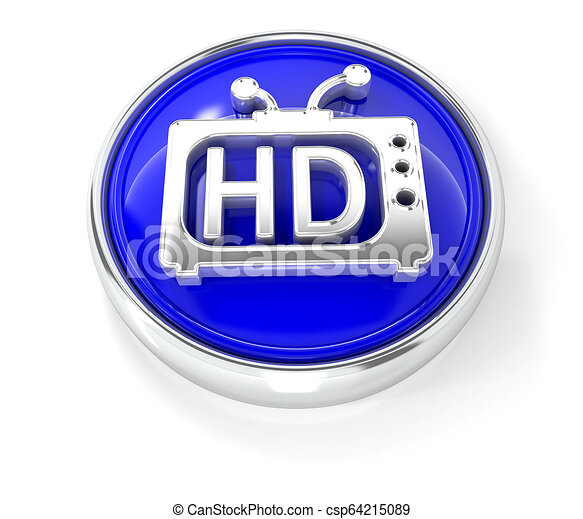 TV icon on glossy blue round button - csp64215089